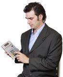 Cálculo do homem de negócios Fotografia de Stock Royalty Free