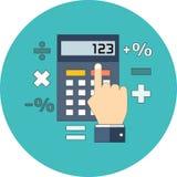 Cálculo, matemáticas, concepto del contable Diseño plano stock de ilustración