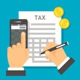 Cálculo plano del impuesto del diseño Imágenes de archivo libres de regalías