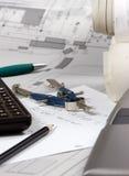Cálculos da engenharia Foto de Stock Royalty Free