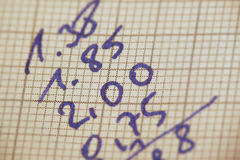 Cálculos de la mano Imagenes de archivo