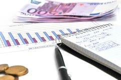 Cálculos de las finanzas foto de archivo libre de regalías