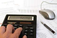Cálculos financieros imagen de archivo