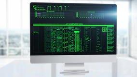 Cálculos matemáticos sofisticados sobre la pantalla de la PC en la oficina Encontrar la información o el código del corte de la e ilustración del vector