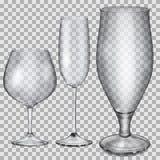 Cálices de vidro vazios transparentes para o conhaque, o champanhe e a cerveja Imagens de Stock Royalty Free