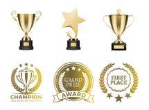 Cálices e certificados para a vitória no grupo da competição ilustração stock