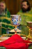 Cáliz para la comunión en el monasterio ortodoxo kiev Imagenes de archivo