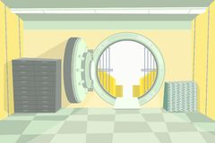 Cámara acorazada de banco del color de la historieta dentro del interior Vector ilustración del vector