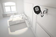 Cámara CCTV en dormitorio Fotos de archivo libres de regalías