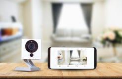 Cámara CCTV, expediente de la cámara IP en fondo borroso de la sala de estar Imágenes de archivo libres de regalías
