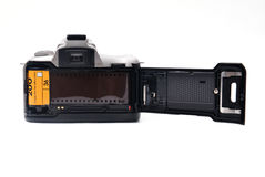 Cámara con la película de 35 milímetros Foto de archivo libre de regalías