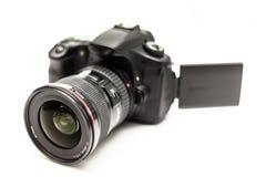 Cámara de DSLR con la lente Imágenes de archivo libres de regalías