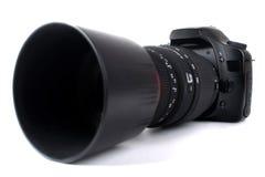 Cámara de Dslr con la lente de zoom Imagen de archivo libre de regalías