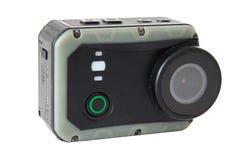 cámara de la acción en el fondo blanco Fotografía de archivo libre de regalías