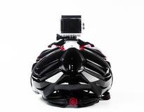 cámara de la acción fijada en casco de la bici Fotos de archivo libres de regalías