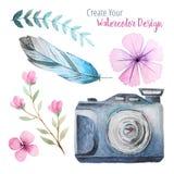 Cámara de la acuarela del vintage y elementos florales ilustración del vector