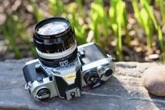 Cámara de la película del vintage de Nikon Imágenes de archivo libres de regalías