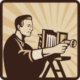Cámara de la vendimia del Shooting del fotógrafo retra ilustración del vector