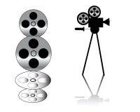 Cámara de película y tira de la película Foto de archivo libre de regalías