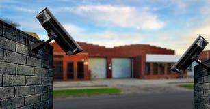 Cámara de seguridad con el almacén Fotografía de archivo