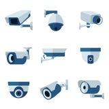 Cámara de seguridad, iconos planos del vector del CCTV fijados Fotos de archivo