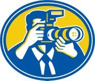 Cámara de Shooting DSLR del fotógrafo retra stock de ilustración