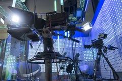 Cámara de televisión en el pabellón de la demostración viva foto de archivo