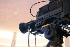 Cámara de vídeo de la TV Foto de archivo libre de regalías