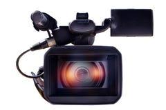 Cámara de vídeo profesional en un fondo blanco Imagen de archivo
