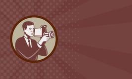 Cámara de vídeo que tira del fotógrafo retra ilustración del vector