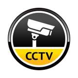 Cámara de vigilancia, advirtiendo alrededor de símbolo Imagen de archivo
