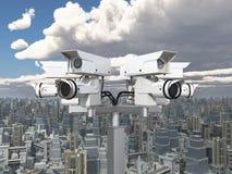 Cámara de vigilancia sobre una ciudad grande libre illustration