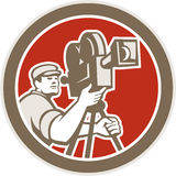 Cámara de Vintage Film Movie del cameraman retra Imagenes de archivo