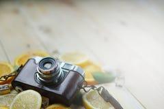 Cámara del vintage entre el cubo anaranjado fresco de las hojas de las cáscaras del mar del limón Imágenes de archivo libres de regalías
