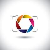 Cámara digital abstracta del punto y del lanzamiento con el icono colorido del obturador Fotos de archivo