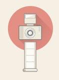 Cámara digital con el flash y la película Imagen de archivo libre de regalías