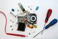 cámara digital quebrada/servicio Imagen de archivo libre de regalías