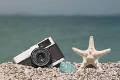 Cámara, estrellas de mar y caracol de mar retros en la playa Fotos de archivo
