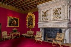 Cámara interior en el castillo francés de Chenonceau Fotografía de archivo
