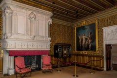 Cámara interior en el castillo francés de Chenonceau Fotografía de archivo libre de regalías