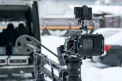 cámara 4K en la grúa Imagen de archivo libre de regalías