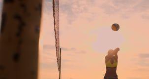 CÁMARA LENTA, ÁNGULO BAJO, CIERRE PARA ARRIBA, LLAMARADA DEL SOL: Muchacha atlética que juega saltos del voleibol de playa en el  almacen de metraje de vídeo