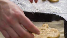 Cámara lenta de poner las galletas crudas del hombre de pan de jengibre en el primer de la cubierta metrajes