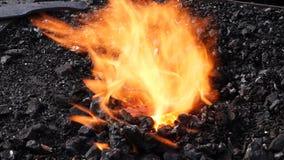 Cámara lenta del fuego de la forja del herrero con negro almacen de video