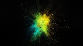 Cámara lenta estupenda de la explosión coloreada del polvo aislada en fondo negro ilustración del vector