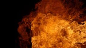 Cámara lenta estupenda de la ráfaga de fuego aislada en fondo negro almacen de video