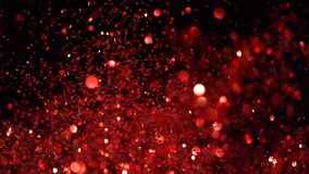 Cámara lenta estupenda de partículas rojas que brillan en backgrou negro metrajes