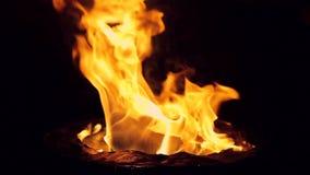 Cámara lenta Fuego detallado aislado en Hd lleno negro almacen de metraje de vídeo