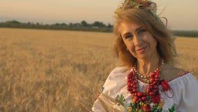 Cámara lenta, primer, mujer hermosa en traje nacional con las espiguillas del trigo en las manos que presentan en campo de trigo metrajes