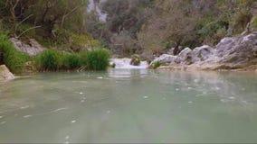 Cámara lenta superficial del río almacen de video
